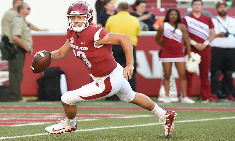 HOGS: QB Noland drills; LB Harris out