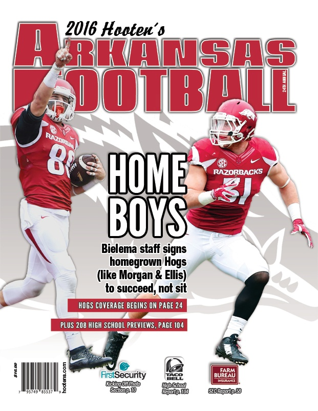 Homegrown Hogs Morgan & Ellis on cover of 2016 Hooten\'s Arkansas Football