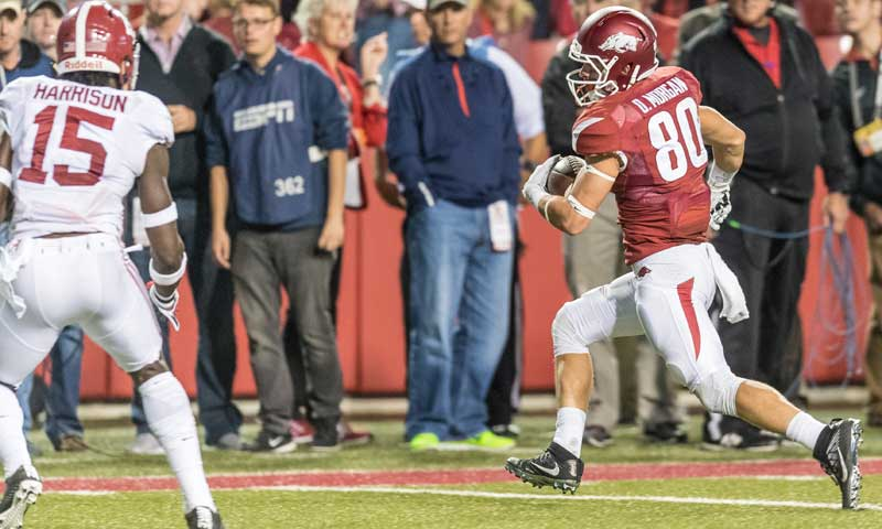 Hogs: No redshirt, no regrets for senior Drew Morgan