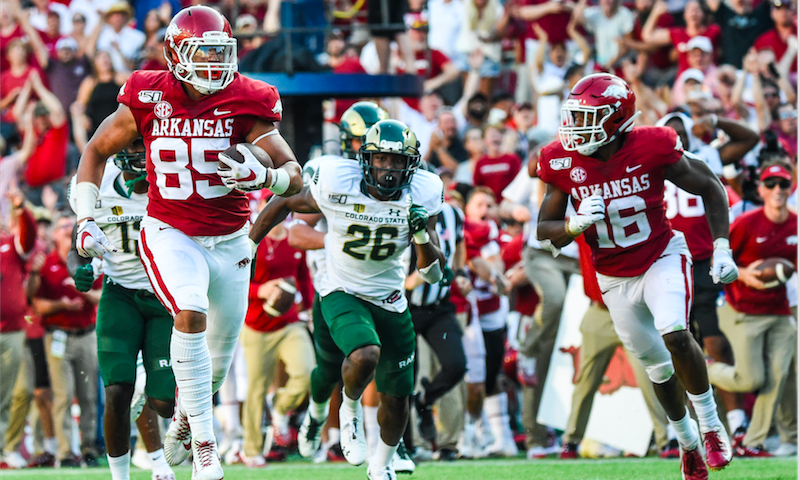 Hogs outscore Colorado St. 55-34